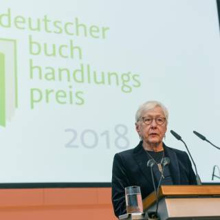 Rede einer Vorjahressiegerin, anlässlich der Verleihung des Deutschen Buchhandlungspreises, in der documenta-Halle (Hildegund Laaff, M. Lengfeldsche Buchhandlung).